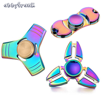 Colorful Tri Spinner Two Spinner Top Toy Creative Metal Fidgets Alloy EDC Finger Hand Gyroscope For