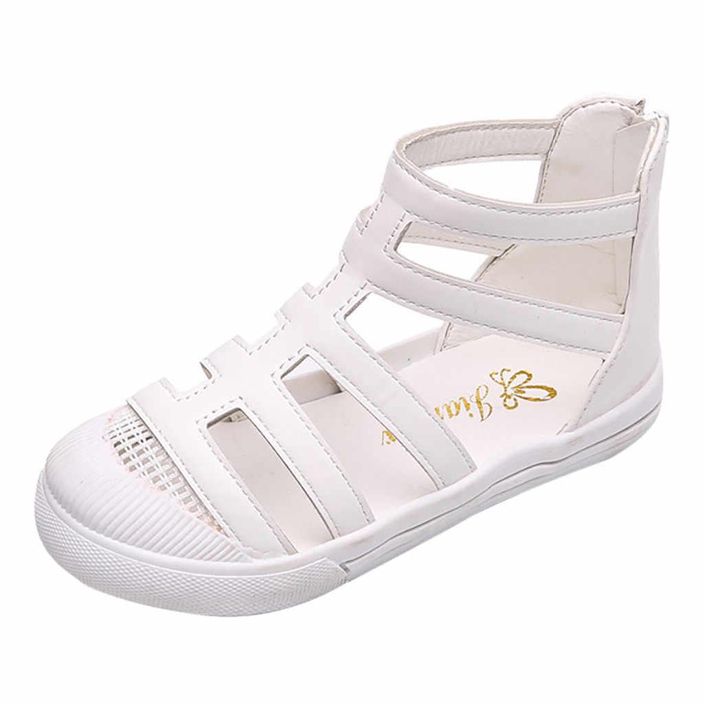 MUQGEW çocuk sandalet PU deri yumuşak yaz erkek kız moda roma ayakkabı çocuklar gladyatör sandalet plaj spor ayakkabılar