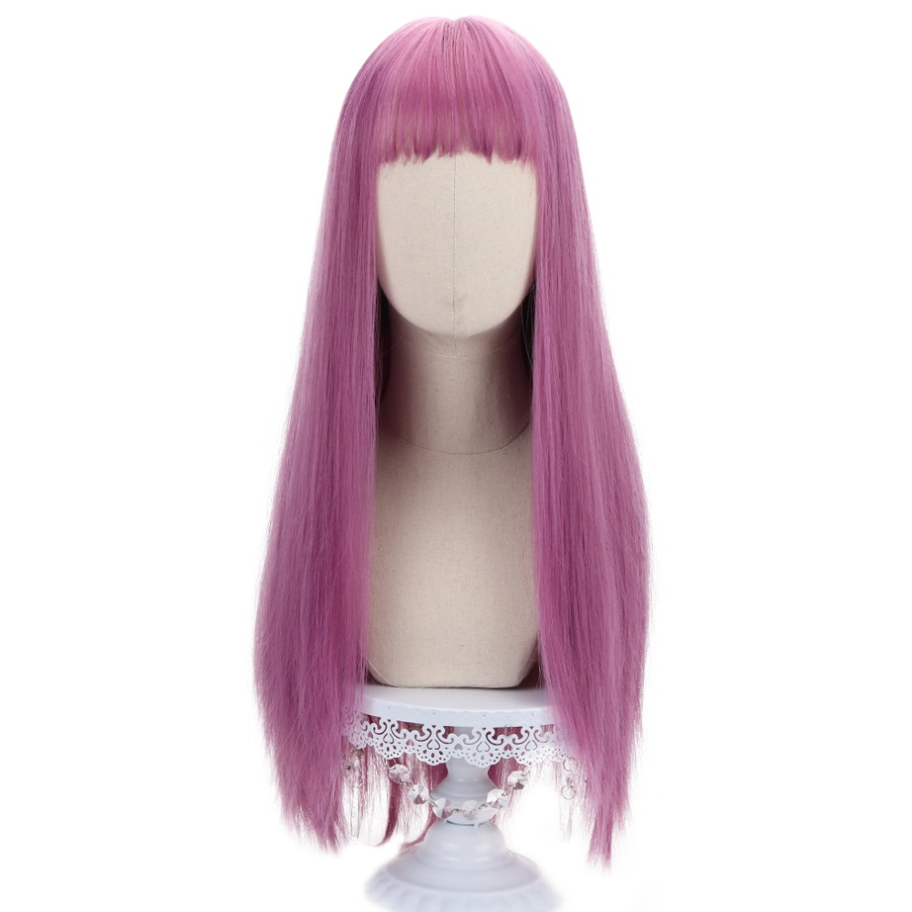 "27""Pink Long Straight Women Wigs with Bangs Synthetic Anime Hair Lolita Wigs for Party Cosplay Costume High Temperature Fiber"