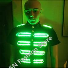 DX001 Men robot colorful LED lights luminous costume Illuminated suit dj disco party supplies festival ballroom dance clothes