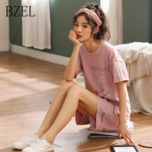 BZEL Pajamas Sets Women Nightwear Short Sleeve Cotton Pijamas Mujer Leisure Sleepwear Suits Casual Cute Homewear Plus Size M-XXL(China)