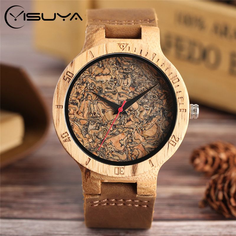 YISUYA Nature Broken Leaf Wood Watch Men Analog Quartz Leather Strap Fashion Novel Bamboo Wrist Watch Women Modern Cool Clock yisuya creative fashion full bamboo triangular quartz wrist watch men simple unique novel analog hollow bangle nature wood clock