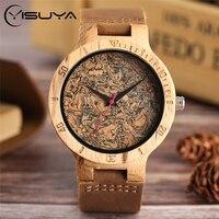YISUYA natura złamane liści drewniany zegarek mężczyźni analogowe skóra quartz pasek moda powieść bambusa zegarek na rękę kobiety nowoczesne fajne zegar w Zegarki kwarcowe od Zegarki na