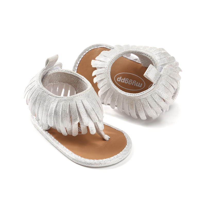 Silver color baby shoes moccasins baby boy girl sandals first walkers soft sole non-slip 2018 new tassels infant kids sandals.