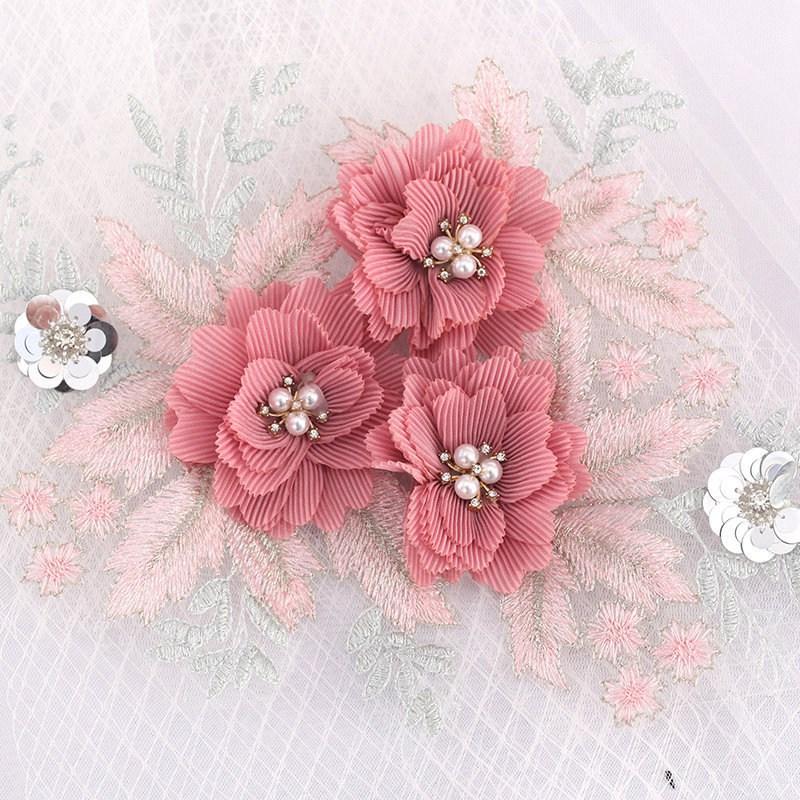 3 Pcs lace embroidery flower cloth patch clothes patch applique skirt pants clothing diy decoration repair hole accessories