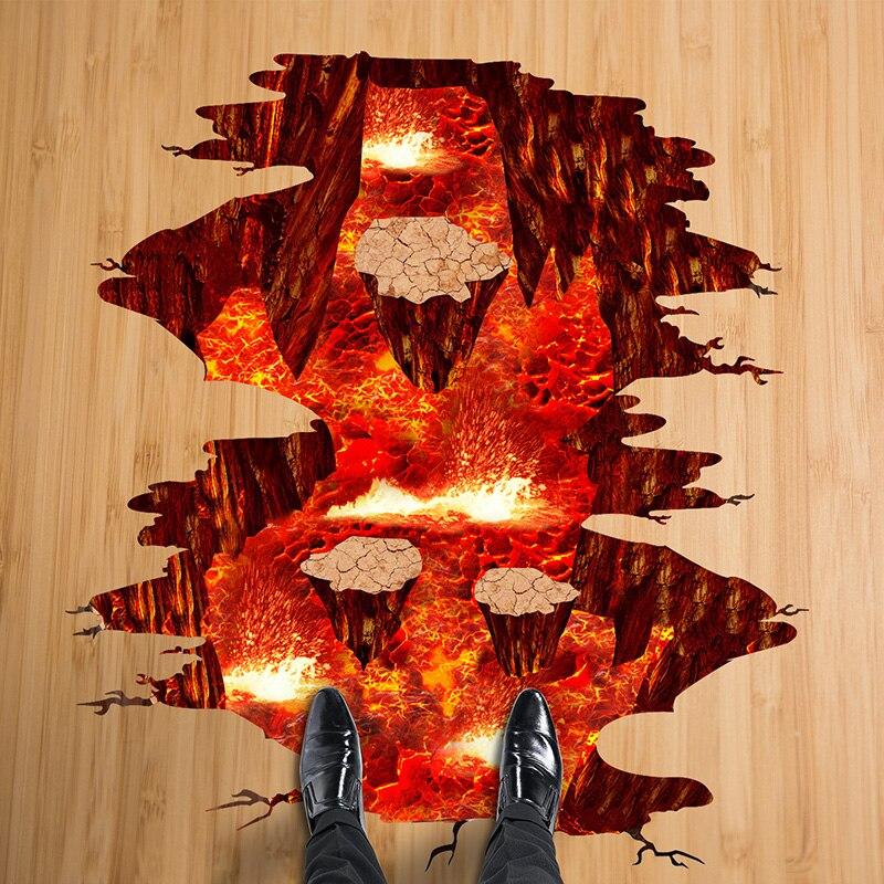 [SHIJUEHEZI] Magma 3D autocollant mural Amovible PVC Matériel autocollants décoratifs pour La Maison Salon Chambre Décoration De Sol