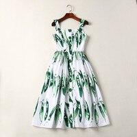 New arrival 2018 wiosna lato moda kobiety dziewczęta śliczne wzory drukuj casual dress pojedyncze łuszcz pea spaghetti strap suknie