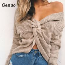 лучшая цена Genuo 2018 V Neck Twisted Back Sweater Women Jumpers Pullovers Casual Tops Long Sleeve Knitted Sweaters pull femme