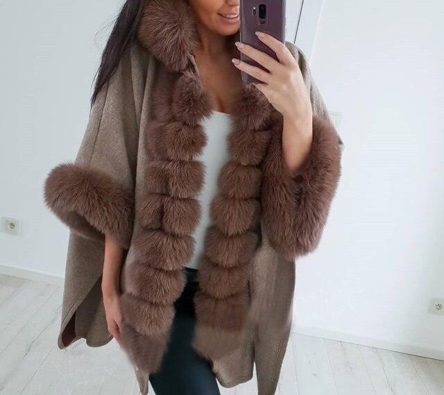 Real Fox Fur Woolen Shawl Big Coat Outwear Plus Size Oversized With Hood With Fur Trim Collar With Fur Cuffs Wrap Cardigen Wool