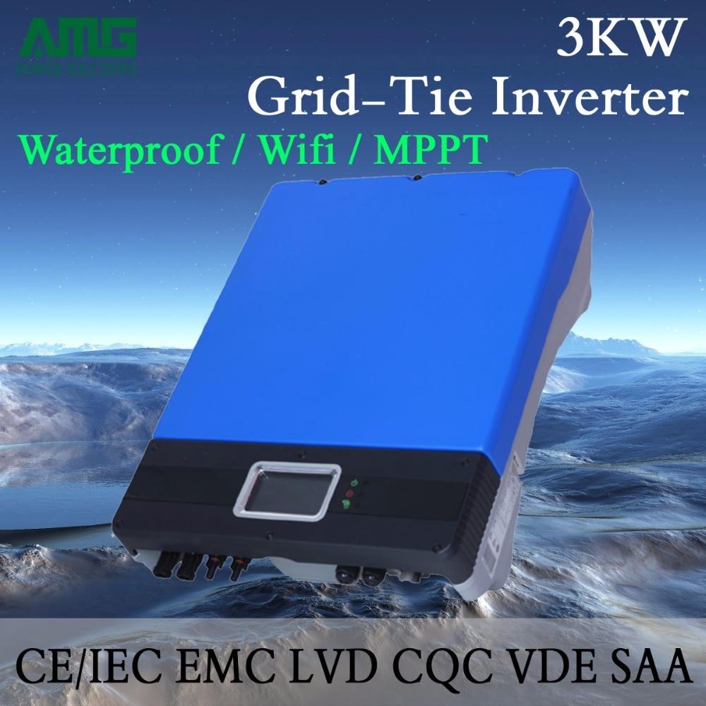 3000W/3KW Dual Input Single MPPT Waterproof IP65 On Grid Tie Solar Power Inverter Wifi Default Conversion, GPRS optional