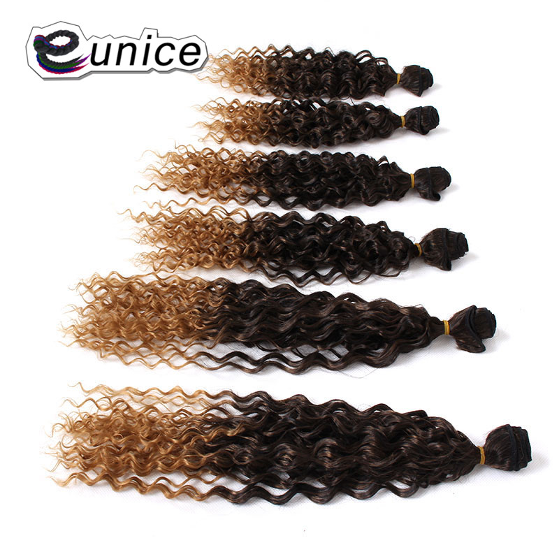 Eunice Synthetic Hair 2 Tone Ombre Kinky Curly Weave Bundles Hair Extensions 14-18 inches Sew in weaving Wefts free shipping