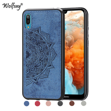 Huawei Y6 Pro 2019 Shockproof Soft TPU Cloth Texture Hard Phone Case For Cover Fundas
