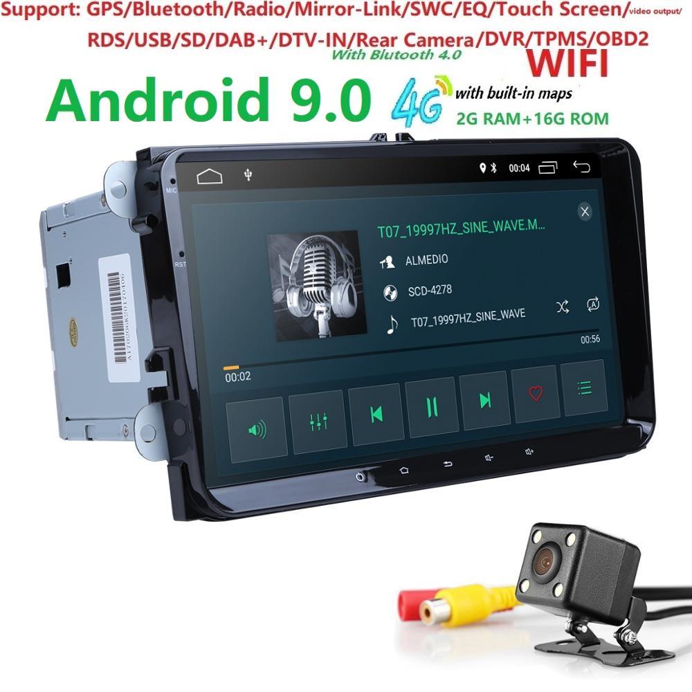 2din 9 polegada 2 gramas android9.0 navegação gps rádio do carro para v w passat b6 golf 5 polo j etta quadcore carro NO DVD jogador com canbus