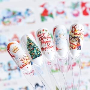 Image 4 - 12 diseños de pegatinas para uñas al agua de Navidad, calcomanías de transferencia deslizantes, ciervo muñeco de nieve, envolturas de esmalte de Gel para Halloween, TRBN985 1032 de decoración de uñas