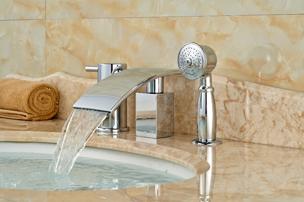 Widespread Chrome Brass Waterfall Spout Tub Faucet Bathroom Sink Mixer Tap Diverter W/ Hand Sprayer chrome brass square waterfall spout bathroom tub faucet 3 pcs sink mixer tap