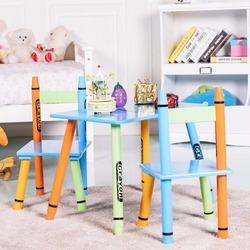 Giantex 3 Peça Crayon Crianças Mesa & Conjunto de Cadeiras de Madeira Crianças Atividade Móveis Brinquedoteca HW58673