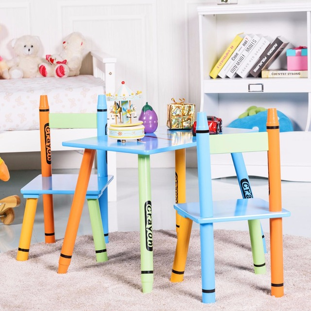 Giantex 3 Piece Crayon Kids Table Chairs Set Wood Children