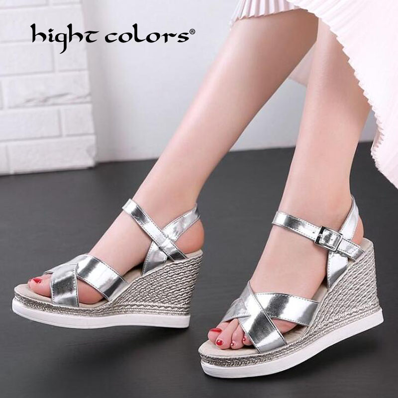 33~43 Size Summer New Platform Sandals Women Peep Toe High Wedges Heel Ankle Buckles Sandalia Female Sandals Shoes Gold Silver