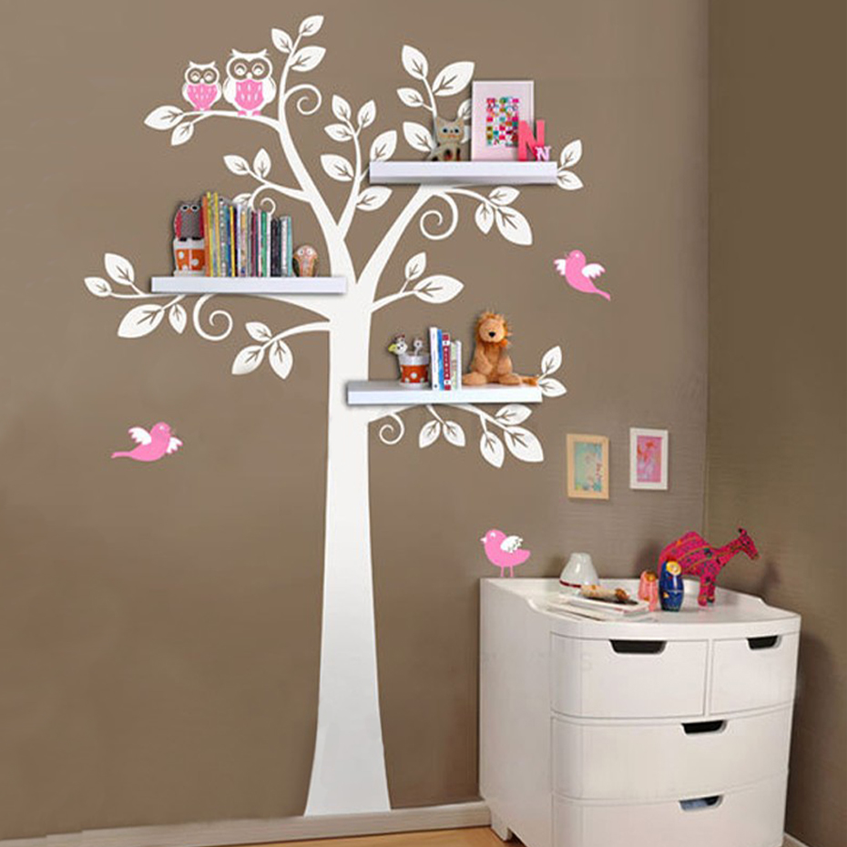 Nursery Wall Art Decals Tree Owl Baby and Mother Wall Sticker Removable Shelves for Kids Bedroom