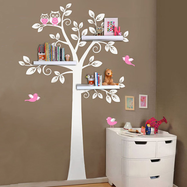 Nursery Wall Art Decals Tree Owl Baby And Mother Sticker Removable Shelves For Kids Bedroom Home Decor Shelf Not Included