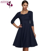 ACEVOG Hot Sale Dresses Women Ladies Casual Midi Long Autumn Summer Plus Size Dress Vestidos Polka