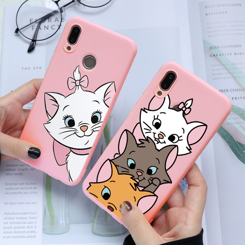 Cut Marie Cat Silicone Case For Huawei P30 P20 P40 Lite E P Smart Y6 Y7 Y9 2019 P9 Cover For Honor 20 Pro 10 Lite 10I 20I 8X 7A