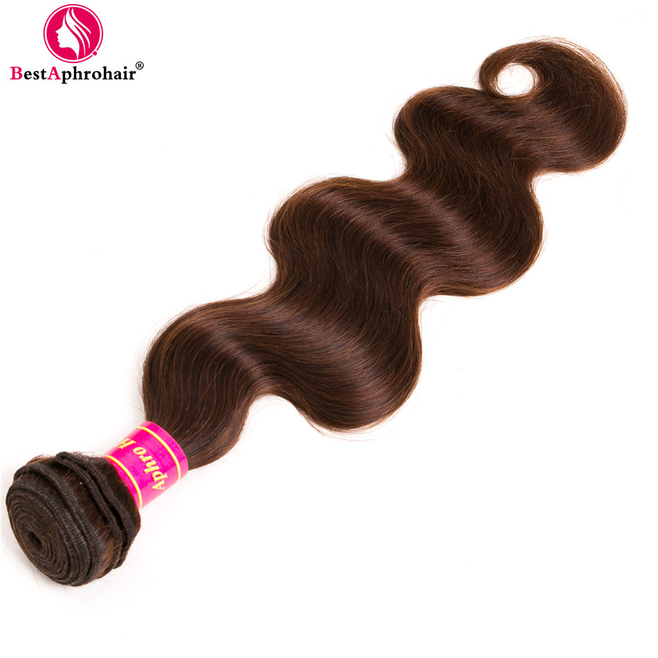 Aphro Hair Brazilian Body Wave Human Hair Extensions 1 Piece Non-Remy Hair Bundles Light Brown Color #4 Free Shipping 8-28