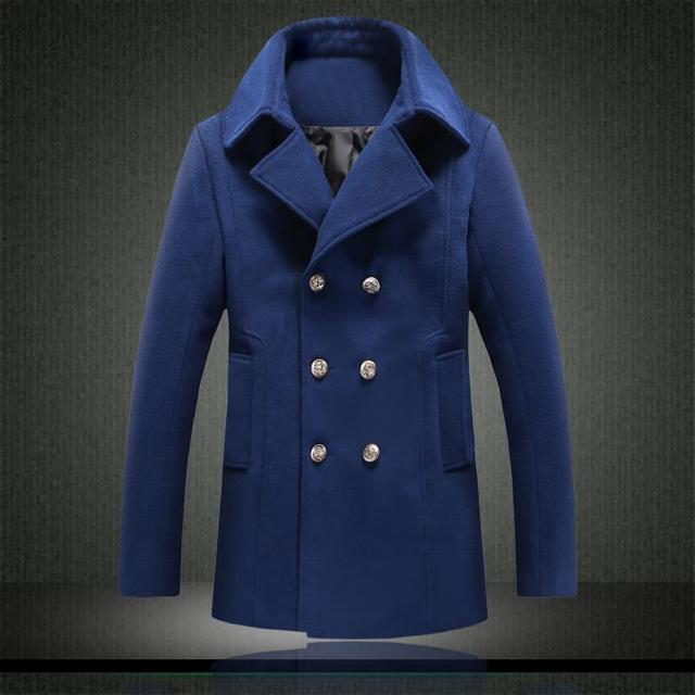 suede collar 2015 new  casual slim fit men wool coat M-5XL fashion brand mens cashmere coat mens pea coat overcoat erkek kaban