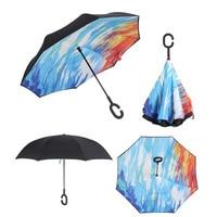7 Color Pongee Aluminum Alloy Tube Windproof Inverted Umbrella Rain Women Sun Protection Children Womens Reverse Umbrella Long