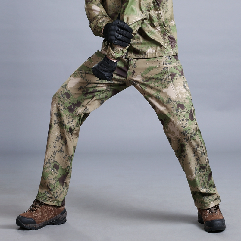 MEGE Soft Shell Tactical Camouflage Pants Men Combat Waterproof Military Cargo Warm Fleece Camo Winter Warm Army Modis Trousers 22