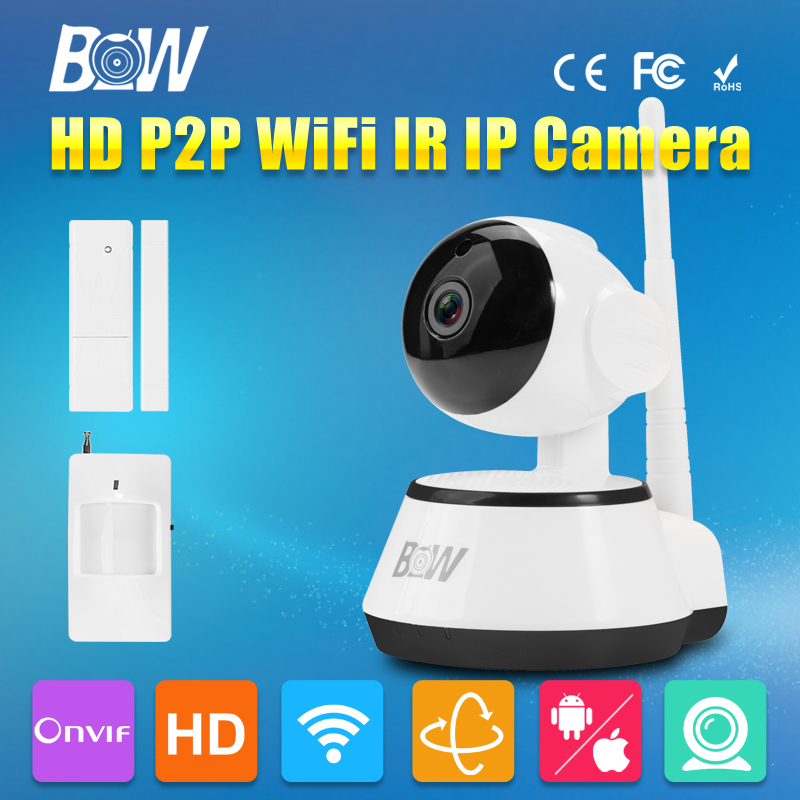 BW IP Camera WiFi HD 720P P2P 3.6mm Endoscope Monitor IR-Cut Filter Megapixel Lens GSM Door & Infrared Motion Sensor Alarm CCTV bw wireless wifi door