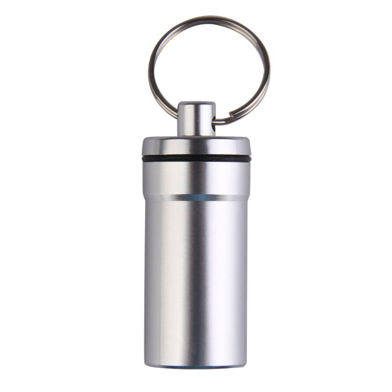 Portable Travel Pill Medicine Box Case Waterproof Container Keychain Tools Capsule Bottle Key Ring Chain First Aid Medicine Box