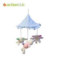 New Arrival Cartoon Lovely Rabbit Sky Blue Umbrella Baby Toy Educational Music Mobile In Cot Rotate
