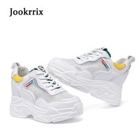 Jookrrix 2018 Summer Fashion Brand Lady Casual Platform Shoes Women Shoe Mesh Black All Match Girl Sneaker Lace Up Breathable 1