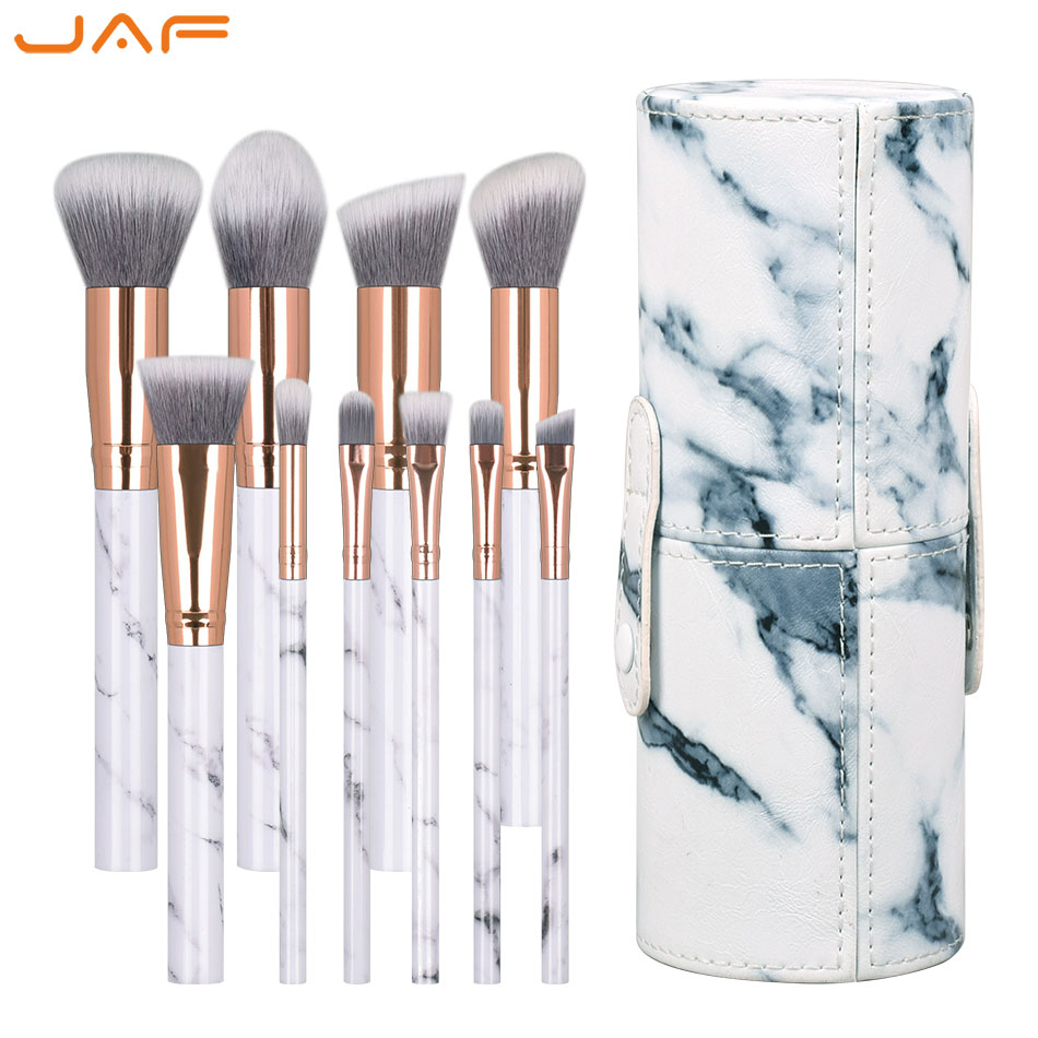 JAF 10 PCS Marble Pattern Makeup Brushes Plastic Handle Synthetic Hair Vegan Make Up Brush with PU Cylinder Tube Holder J1027-DC