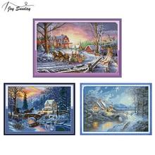 Joy Sunday Cross Stitch Landscape Homeland 14 ct 11 Aida Fabric DMC Printed Canvas Crossstitch Thread Needles Embroidery Kit