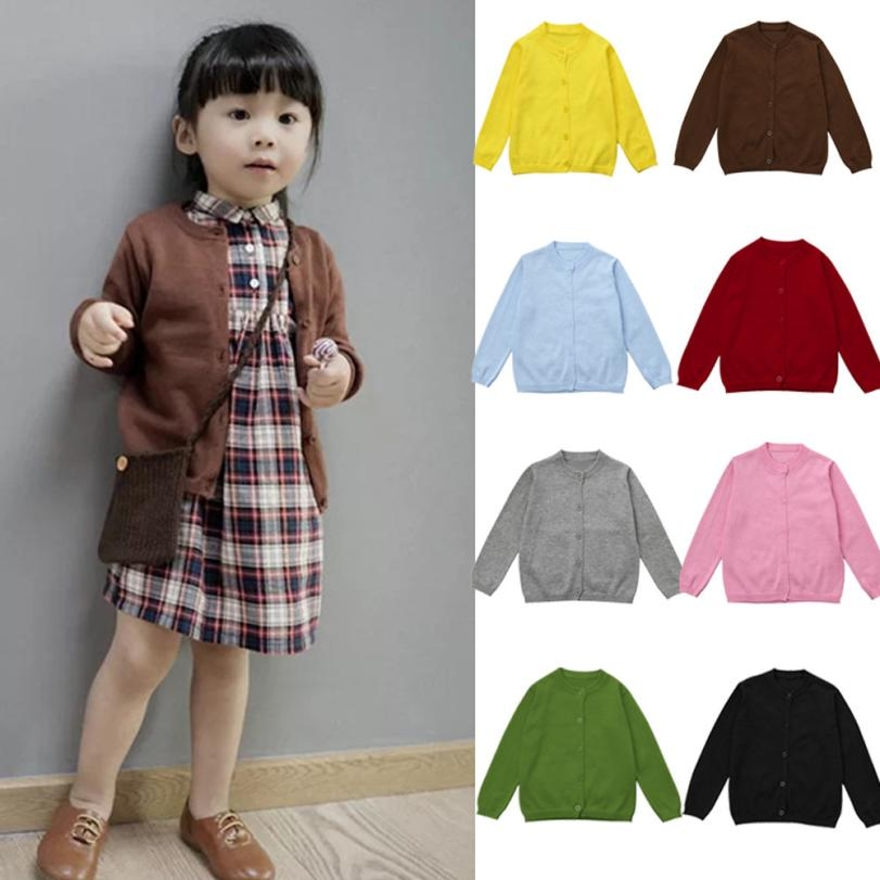2017 Toddler Kid Boys Girls Clothes Knitted Colorful Solid Sweater Cardigan Coat Tops D50