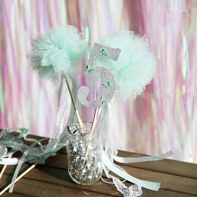 New Pastel Green Tulle Fairy Wands Silver Ribbon Wedding Party