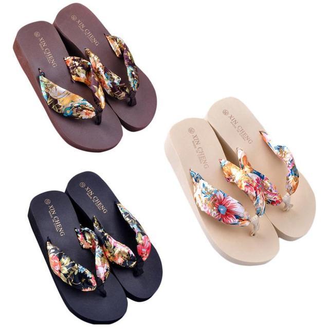 Женщины Тапочки Богемия Стиль Цветочный Пляж Сандалии Клин Платформа Стринги Тапочки Флип-Флоп Pantofole Донна #5308