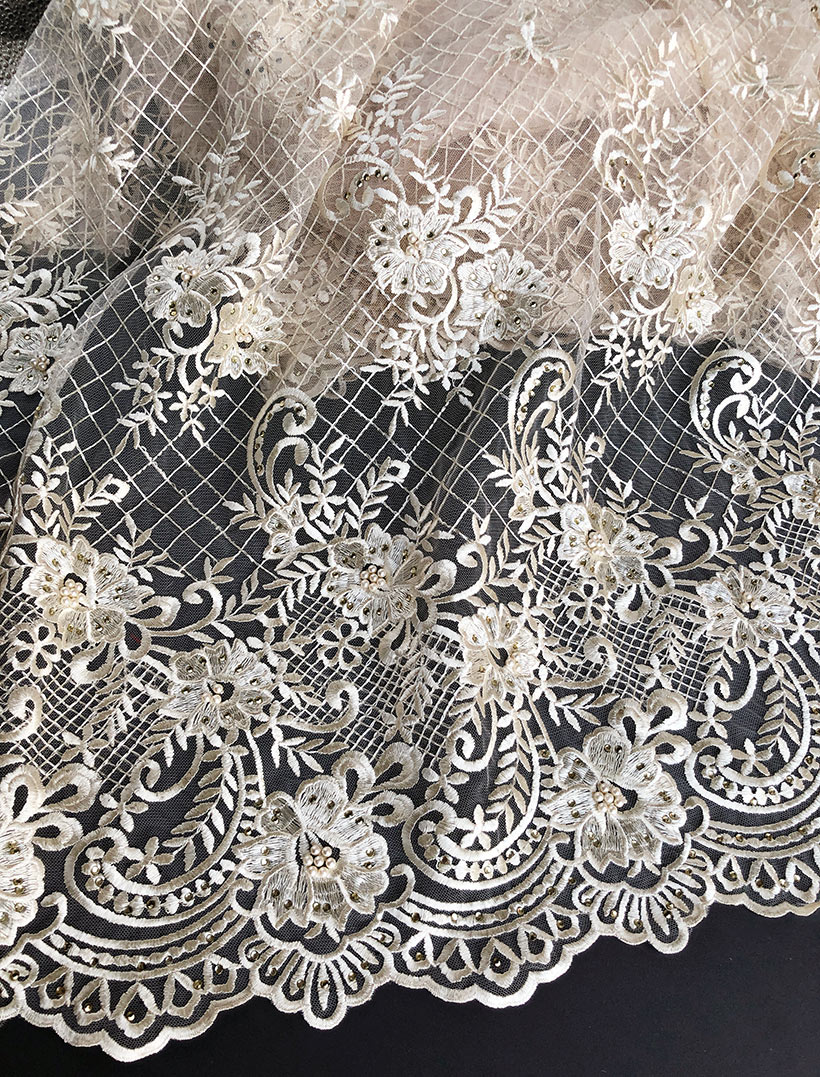 plain beige High grade neat embroidery french lace soft African lace fabric Nigerian celebration cloth high quality 5 yards