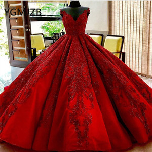 Image 2 - Luxury Red Wedding Dress 2020 Ball Gown V Neck Crystals Beaded Appliques Lace Arabia Bride Dress Wedding Gown Robe De Mariee