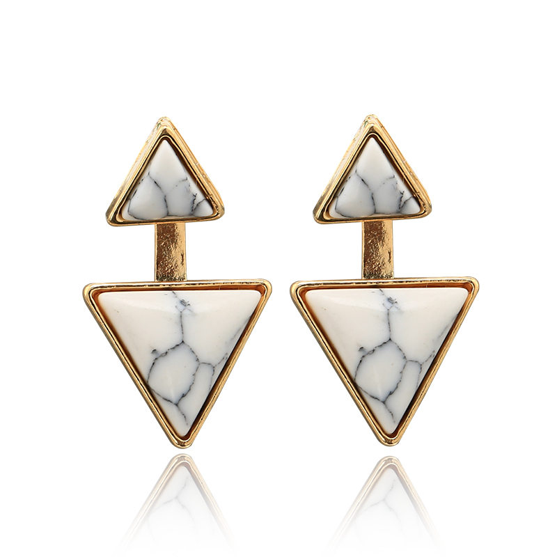New Bohemia Natural White Green Marble Geometric Stud Earrings for Women Ethnic Triangle Ear Cuff Jewelry