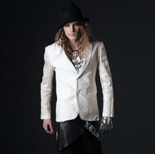 Thin lengthy sleeves blazer males newest coat designs go well with males singer dance stage slim teenage fits for males's trend beige