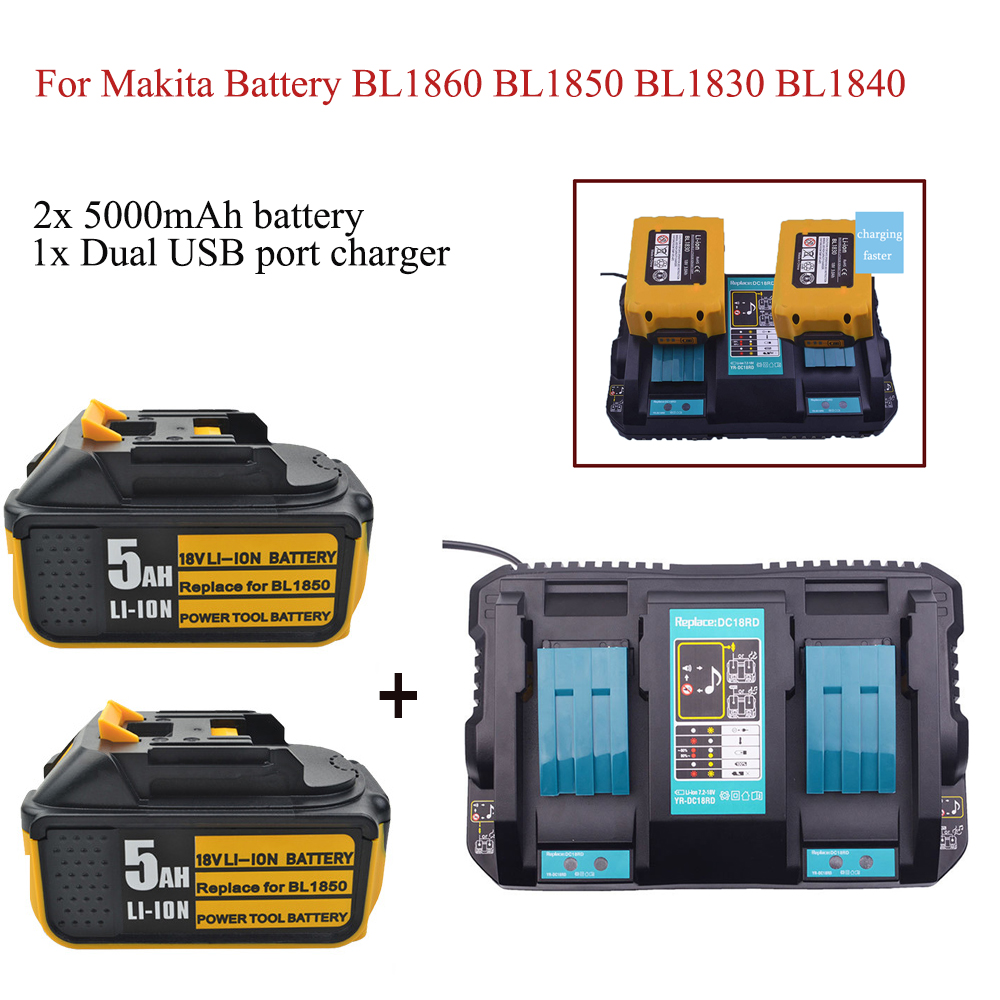 2x plus récent 18 V 5Ah Li-ion batterie pour Makita batterie BL1860 BL1850 BL1830 BL1840 194205-3 outil électrique avec indicateur LED + chargeur