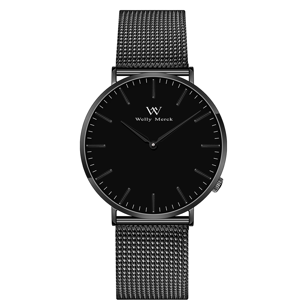 Welly Merck Thin Simple Unique Design Sapphire Glass Quartz Watch Men Stainless Steel Watches Top Brand Luxury цена и фото