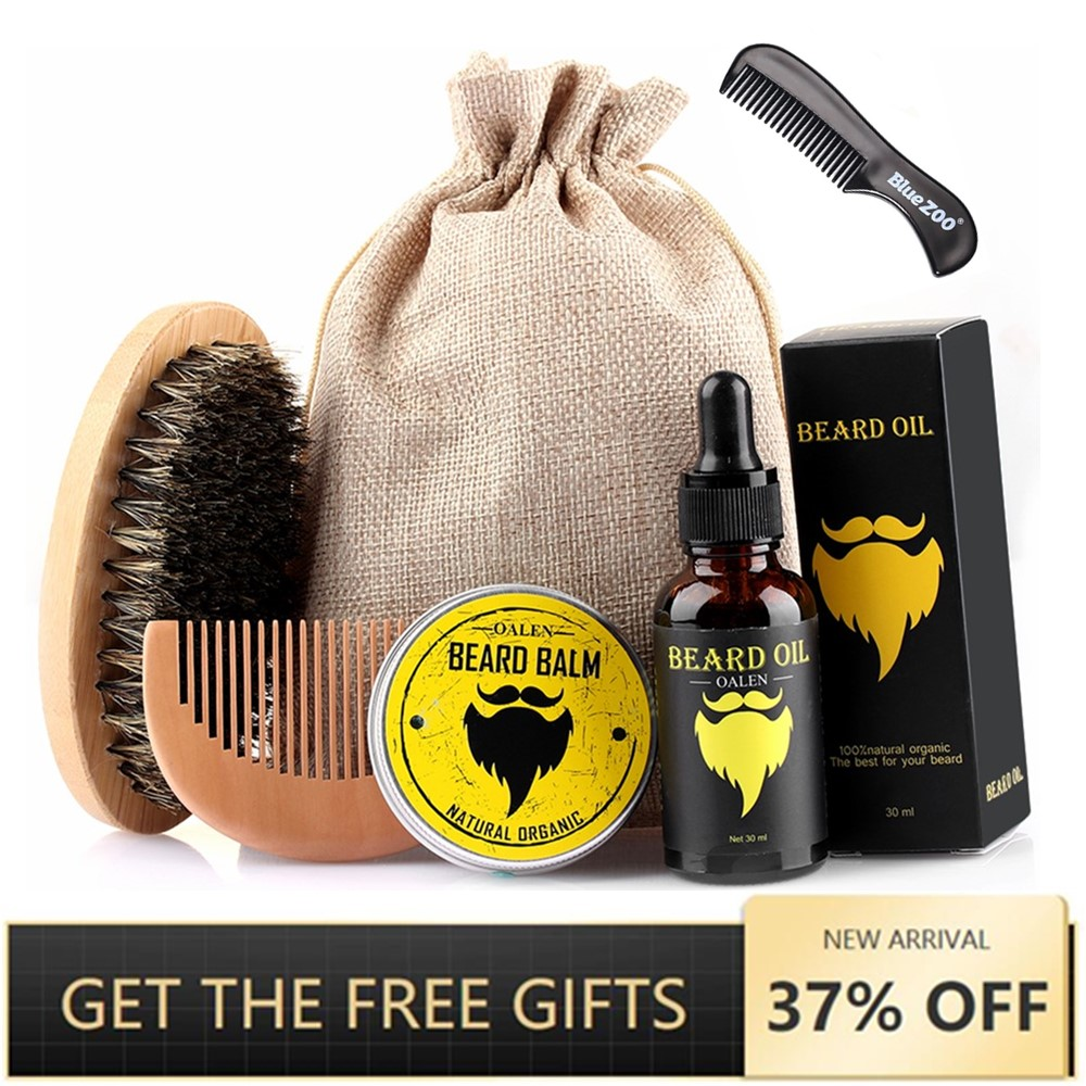 New 6pcs/set Men Barba Beard Kit Grooming Beard Set Moisturizing Wax Beard Oil Blam Comb Essence Styling Hair Men Beard Kit Set
