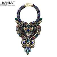 MANILAI Eye Catching Luxury Crystal Necklaces Women Wedding Party Dress Collar Handmade Choker Necklaces Statement Jewelry