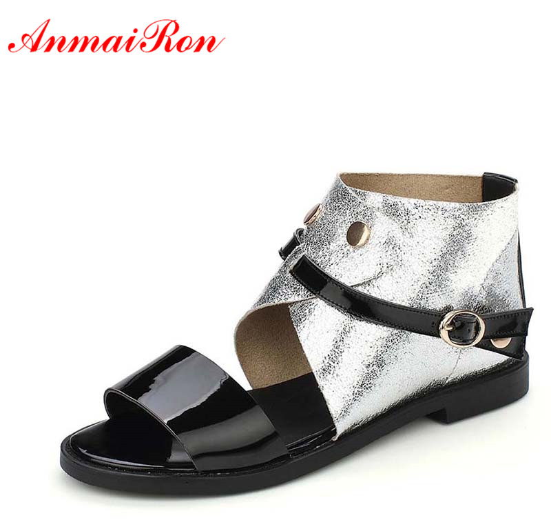 ANMAIRON  Ladies Casual Flats Summer Fashion Women Flats Sandals Boots Shoes Women Plus Size Peep Toe Zip Peep Toe Ankle Boots new 2017 spring summer women shoes pointed toe high quality brand fashion womens flats ladies plus size 41 sweet flock t179