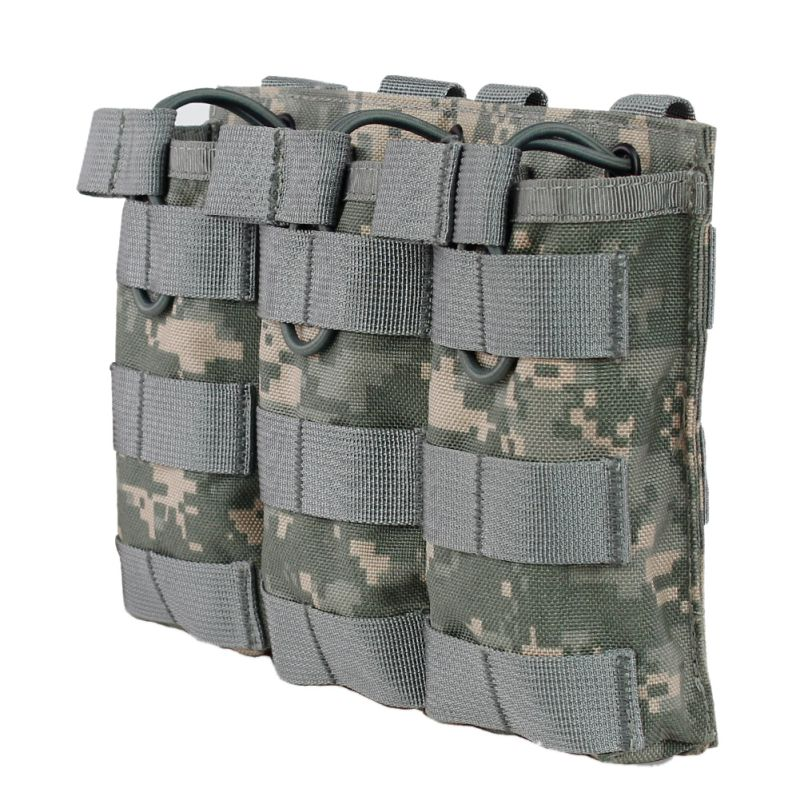 Tactical MOLLE Triple Open-Top Magazine Pouch FAST AR M4 FAMAS Mag Pouch Military Paintball Equipment image