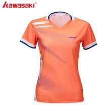 Kawasaki женская спортивная одежда футболки для бадминтона Быстросохнущий полиэстер v-образный вырез для женщин Теннисный корт спортивная одежда ST-T2010